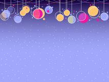 Hanging Christmas balls memphis style. Celebratory background with garlands. Vector. Illustration Stock Photo