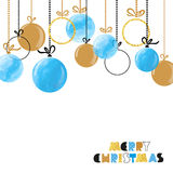 Hanging Christmas balls. Merry Christmas card Stock Photography