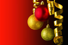 Hanging christmas balls red and gold Royalty Free Stock Image
