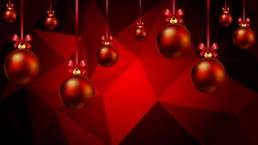 Hanging Christmas balls on a red triangular background. Vector art illustration Stock Photos