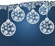 Hanging Christmas balls with a snowflake. Vector illustration. Merry Christmas and a happy new year. Elegant background for christmas design Royalty Free Stock Image
