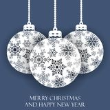 Hanging Christmas balls with a snowflake. Vector illustration. Merry Christmas and a happy new year. Elegant background for christmas design Royalty Free Stock Photos