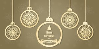 Hanging Christmas balls with a snowflake. Vector illustration. Merry Christmas and a happy new year. Elegant background for christmas design Stock Photo