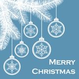 Hanging Christmas balls with snowflakes on spruce branches on a blue background. Merry Christmas holiday background. vector illustration