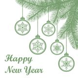 Hanging Christmas balls with snowflakes on spruce branches. Happy New Year holiday background. Vector illustration Royalty Free Stock Image