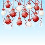 Hanging Christmas balls on snowy background. Red and white hanging Christmas balls on blue snowy background, illustration Stock Image
