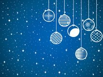 Hanging Christmas balls on a snowy background. Vector. Hanging Christmas balls on a snowy background. Blue and white color. Vector illustration Stock Photography