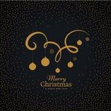 Hanging christmas balls on swirl decoration Royalty Free Stock Image