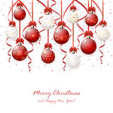 Hanging Christmas balls on white background Stock Photo