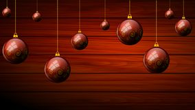 Hanging Christmas balls on a wooden background. Vector art illustration Royalty Free Stock Photography