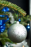 Hanging christmas bauble. Gray glass Christmas bauble on a celebrating tree Stock Images