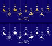 Hanging Christmas baubles, Christmas ornaments on dark blue. Set of hanging Christmas balls with ornaments such as Christmas tree, Santa hat, reindeer, angel Royalty Free Stock Photography
