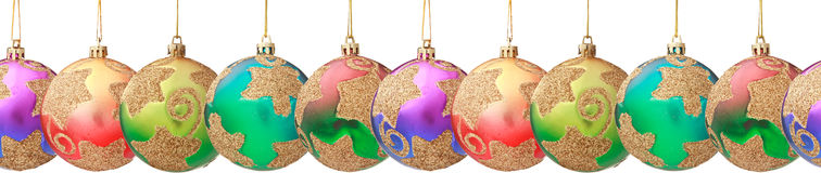 Hanging Christmas baubles (seamless horizontally) Stock Image