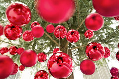 Hanging christmas baubles Stock Photography