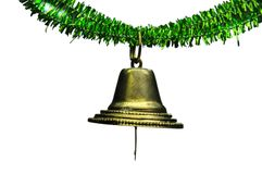 Hanging christmas bell. Single hanging christmas bell on a wireframe stock photo