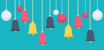 Hanging Christmas Bells and Balls Graphic Design Stock Images