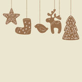 Hanging Christmas cookies background Royalty Free Stock Photography