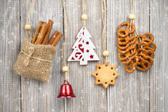 Hanging Christmas decorations Stock Image