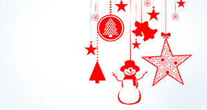 Hanging christmas decorations with copy space Stock Images