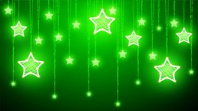 Hanging Christmas decorations of stars on a green background. Vector art illustration royalty free illustration