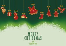 Hanging Christmas Elements Background Royalty Free Stock Images