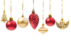 Hanging Christmas globes or various decorations. Isolated on white background Royalty Free Stock Photo