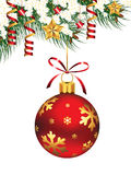 Hanging Christmas Ornament. Vector illustration representing hanging Christmas ornament, with pine branches, stars and streamers Stock Photography
