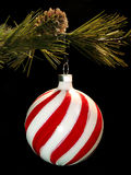 Hanging Christmas ornament. Red and white swirled Christmas tree ornament hanging from a branch stock image