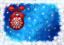 Hanging Christmas Ornament Snowflakes Border Blue Stock Photos