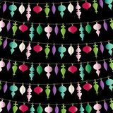 Hanging christmas ornaments stripe on black. Hanging christmas ornaments  pattern stripe on black Royalty Free Stock Image