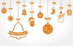Hanging Christmas ornaments. Vector background Stock Photo