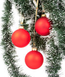 Hanging Christmas red baubles Royalty Free Stock Images