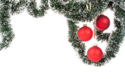 Hanging Christmas red baubles Stock Image