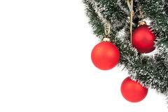 Hanging Christmas red baubles Royalty Free Stock Photos