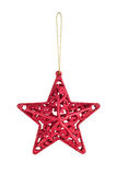 Hanging Christmas red star bauble Stock Photography