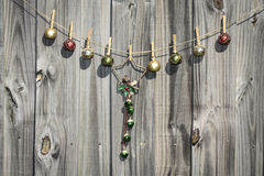 Hanging Christmas Star and Balls Fence Royalty Free Stock Photo
