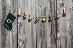 Hanging Christmas Stocking and Balls Fence Royalty Free Stock Photo