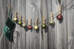 Hanging Christmas Stocking and Balls Fence Royalty Free Stock Photos