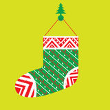 The Hanging of Christmas Stocking for Santa Claus Gift Stock Photos