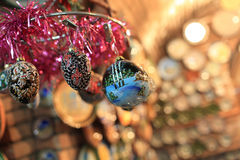 Hanging christmas tree decorations Stock Images