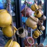 Hanging clay pots Stock Photos