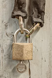 Hanging closed bicycle lock with chain Royalty Free Stock Photography