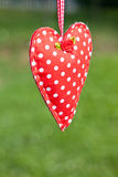 Hanging cloth heart Stock Images