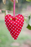 Hanging cloth heart Royalty Free Stock Images