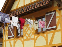 Hanging clothes at Fachwerkhaus Royalty Free Stock Photo
