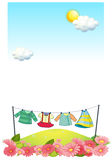 Hanging clothes at the hilltop Royalty Free Stock Images