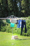Hanging Clothes on a Line Stock Photo