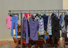 Hanging clothes at rural house stock photography