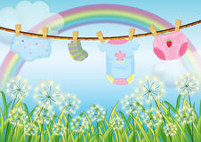 Hanging clothes for toddlers Royalty Free Stock Photo