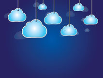 Hanging clouds dark blue abstract background Royalty Free Stock Image